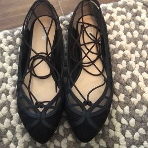 Bar III black flats that tie up the ankle size 9.5